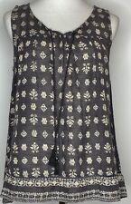 Fat Face Womens Top Blouse, Size UK 12, charcoal grey cotton ethnic print tassle