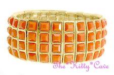 Chic Gold Geometric Square Grid Feature Statement Elasticated Flex Bracelet Cuff