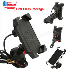 Motorcycle Cell Phone Handlebar Mirror Mount Holder w/USB Charger for Smartphone