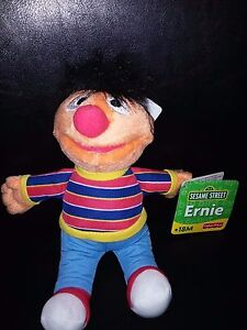 "New 10"" Fisher Price 2005 ERNIE Sesame Street Bean Bag Plush Toy Stuffed Animal"