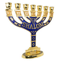 Menorah Seven-branched Candle Holder Jerusalem Blue Enamel Israel Judaica 4""