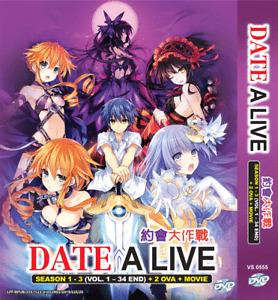 DVD Date A Live Sea 1-3 + 2 OVA English Version + 1 Movie English Subtitle