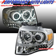2007-2014 FORD EXPEDITION DUAL CCFL HALO PROJECTOR HEADLIGHTS CHROME w/ LED
