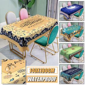 Eid Mubarak Ramadan Muslim Waterproof Dining Table Cloth Table Cover Protector