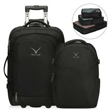 Travel Carry-On Wheeled Upright Luggage Set with Removable Daypack Packing Cubes