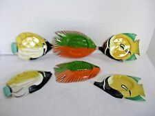 Hand Painted Wood Fish Coasters Colorful, Set of 6