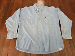 Vintage Duck Head Mens Light Denim Long Sleeve Shirt Size Large