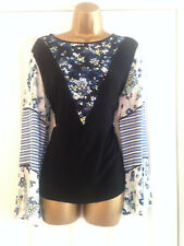BNWT NEXT Black Blue White Floral Patchwork Long Sleeve Top Blouse Size 12 £34