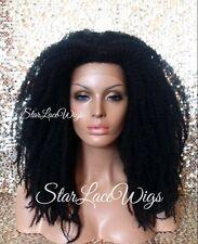 Afro Kinky Curl Natural Lace Front Wig Senegalese Havana Marley Jet Black #1