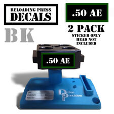 ".50 AE Reloading Press Decals Ammo Labels 1.95"" x .87"" Sticker 2 Pack BLK/GRN"