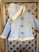 ROTHSCHILD TOGGLE ZIP Coat Jacket Baby Blue BEAR Hood Fur Sherpa 18 24 m Toddler