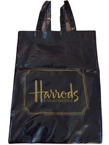 "Vtg 16"" X 12"" Navy Blue Vintage Harrods Knightsbridge Logo Tote Shopper Bag"