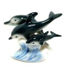 "Dolphin Porpoise Ceramic Figurine Swimming Wave Gray Blue Rubber Feet 3.5"" T"