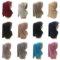 Muslim Women Hijab Scarf Lace Head Full Cover Shawls Islamic Wrap Amira Headwear