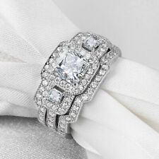 Sterling Silver Princess Cz Size 6 Three Stones Wedding Band Engagement Ring Set