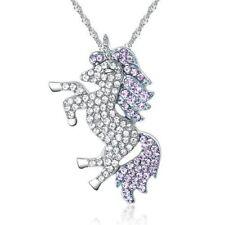 """Unicorn CZ Necklace Clear CZ Body with Purple CZ Mane and Tail 16"""" + 2"""" Ext"""