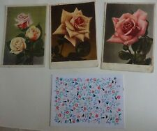 4 postcards from DDR, Finland. Rose flower