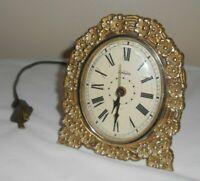Vintage Sunbeam Electric Plastic Alarm Clock - Gold Flowers on Trellis - VGWC