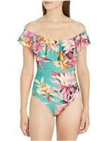 La Blanca Women's Off Shoulder Ruffle One Piece Swimsuit, Plum, Green, Size 16.0