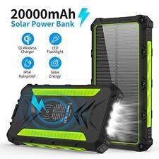 20000mAH Portable Phone Solar Charger, Qi Wireless Solar Power Bank-Rainproof