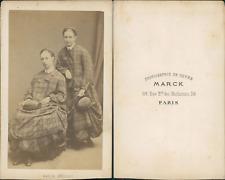 Marck, Paris, jeunes filles en manteau et chapeau Vintage CDV albumen carte de v