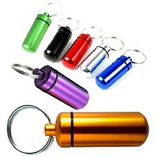 Waterproof Aluminium Capsule Emergency Pill Money or ID container holder Keyring