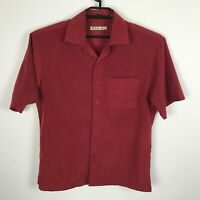 Batik Bay Camp Shirt Mens Size S Red Polyester Button Up Short Sleeve Plaid