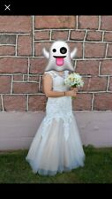 2cute Tan And Lace Size 6 Wedding Dress