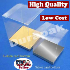 24 PCS 4x4x4-1/2 Party Wedding Favor Tuck Top Clear Box W/ Silver Card Bottom