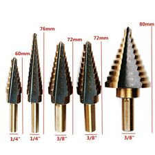 5Pcs Step Drill Bit Set Cobalt Coated Multiple Cone Drill Hole Cutter Tools