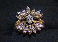 14K 1.39Ct Diamond Marquise Solitaire 2 Ring Set Enhancer Valentines Engagement