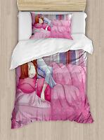 Anime Decor Twin Size Duvet Cover Set Japanese Animal with 1 Pillow Sham