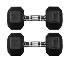15 Kg Pair Hex Dumbbells Hexagonal Rubber Encased Weights Gym Fitness Weight