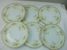 "6 Vintage Hand Painted Floral 9 3/4"" Dinner Plates White Porcelain Made in Japan"