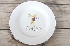 "DANCER Pottery Barn Reindeer  Luncheon Salad Dessert Plate 8-1/2"" Silver Rim Z6"