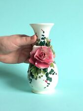 Vase Capodimonte Pink Rose Ceramic made in Italy Vintage