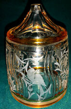 Glas Überfang Dose Steinschönau Art Deco Paradiesvogel geschliffen