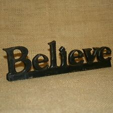 Resin Believe Word Rustic Black Carved Wood Look Home Decor
