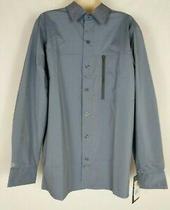 DICKIES Men's Flex Performance Shirt Slate Gray Long Sleeve Button Outdoor MED