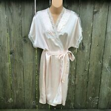 Lily of France Vintage Satin Lace Short Robe w/ Belt Pale Peach Women's Size L
