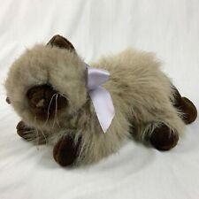 Unipak Plush Long Hair Siamese Himalayan Cat 13 Inch Blue Eyes Bow