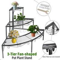 3 Tier Metal Corner Flower Stand Plant Ladder Pot Holder Display Self Rack Black
