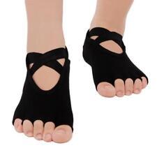 Womens Yoga Socks Non Slip Skid Cotton Ankle 5 Open Toe Socks Gym Sports LC