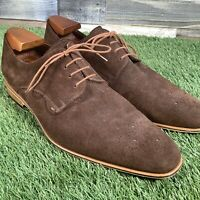 UK10 Lacuzzo Design Suede Oxford Wood Effect Sole Shoes - Casual Brogue EU44