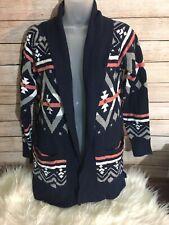 Navy Tribal Aztec Pattern Cardigan Sweater Hippie Rose Warm LIGHTWEIGHT M