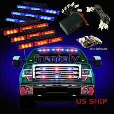 54 LED Car Truck Strobe Emergency Warning Light for Deck Dash Grill Red Blue