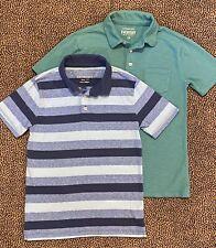 Boy's J.CREW CREWCUTS Size 10 Teal Green Slub Cotton & Blue Striped Polo Shirts