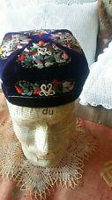 Antique Uzbek Velvet Embroidered Skull Hat Cap Blue