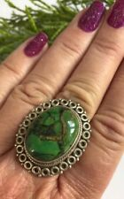 Copper Green Turquoise 925 Solid Sterling Silver Ring R Pagan Reiki Summer Gift