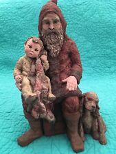 "Vintage Sarah's Attic Limited Edition ""Blessed Christmas� Santa W/child & Dog"
